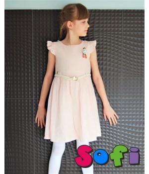 Платье Лён розовое
