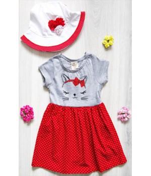 Платье  для девочки Котёнок (красное)