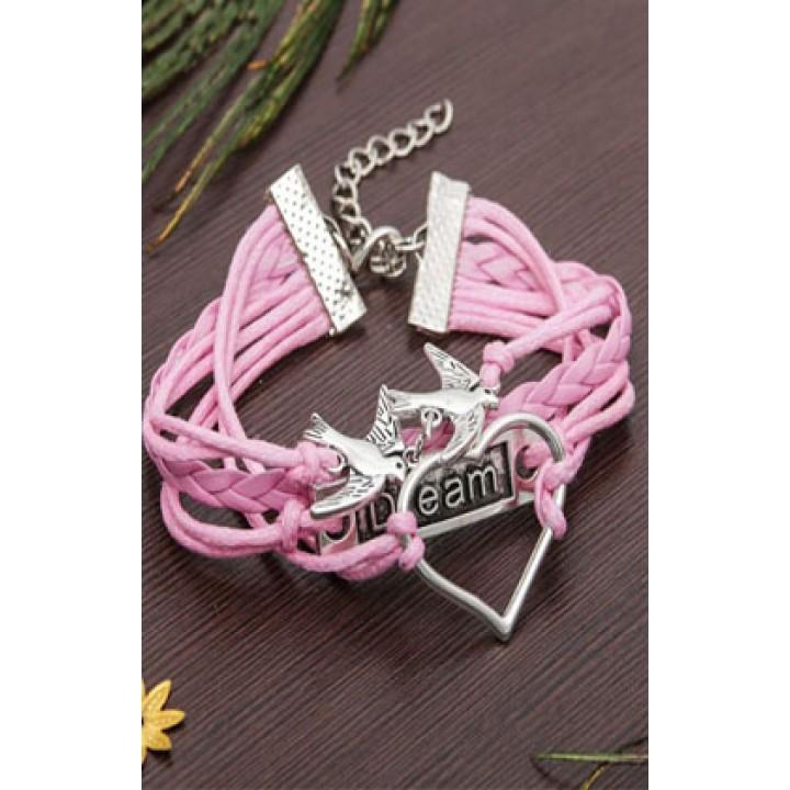 Браслет птицы и сердце, цвет розовый