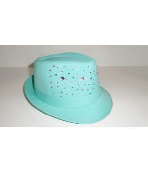 Шляпа Федора мятная со стразами