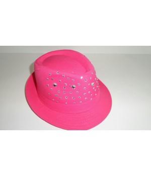 Шляпа Федора малиновая со стразами