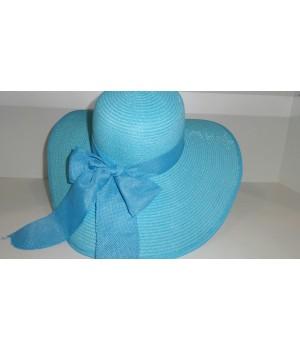 Шляпа голубая с ленточкой