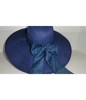 Шляпка темно-синяя с ленточкой