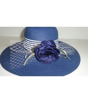 Шляпка темно-синяя с розочкой