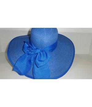 Шляпка синяя с ленточкой